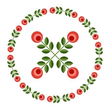 ornamented: Set of design elements - round floral ornamented frame, Scandinavian minimal folk style. Perfect for invitation, greeting card, save the date, wedding design. Vector illustration.