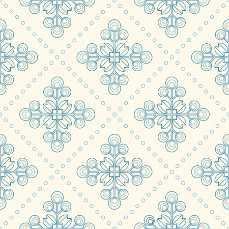 Floral pattern with abstract scandinavian geometric flowers -  pattern based on traditional  folk ornaments. Seamless background. Vector illustration. Vector