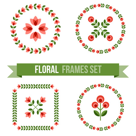 ornamented: Set of design elements - round floral ornamented frames with Scandinavian minimal folk style. Perfect for invitation, greeting card, save the date, wedding design. Vector illustration.