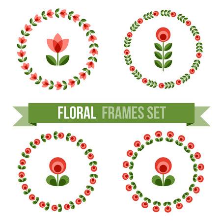 Set of design elements - round floral ornamented frames with Scandinavian minimal folk style. Perfect for invitation, greeting card, save the date, wedding design. Vector illustration.