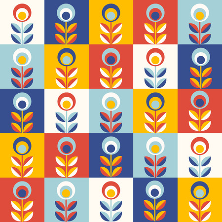 Retro wallpaper - floral pattern with abstract scandinavian geometric flowers - pattern based on traditional  folk ornaments. Seamless background. Vector illustration.