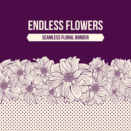 blank space: Hand-drawn flowers of dahlia. Seamless vector border. Deep purple colors. Polka dot background. Blank space for your text. Vector illustration.