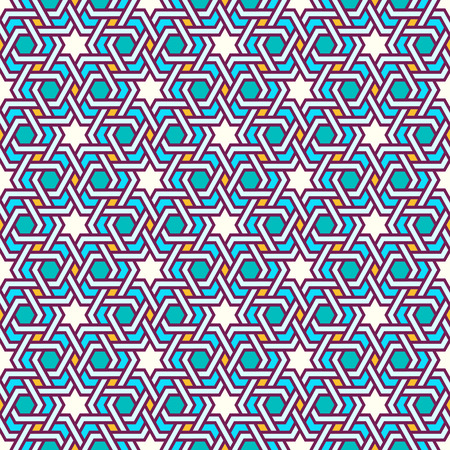moorish: Tangled modern pattern, based on traditional oriental arabic patterns. Seamless vector background. Plain colors - easy to recolor.