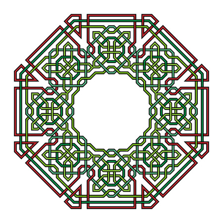 lattice frame: Frame with tangled modern pattern design elements, based on traditional oriental arabic patterns. Vector illustration. Plain colors - easy to recolor.