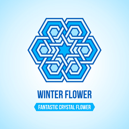 Fantastic flower icon with tangled modern pattern design elements, based on traditional oriental arabic patterns. Vector illustration. Plain colors - easy to recolor.