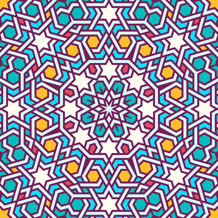 mosaic art: Tangled modern pattern, based on traditional oriental arabic patterns. Seamless vector background. Plain colors - easy to recolor.