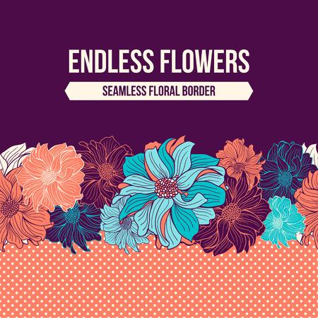patrones de flores: Flores de dalia dibujado a mano. Frontera incons�til del vector. Menta, turquesa, aguamarina y coral colores. Polka dot fondo. Espacio en blanco para el texto. Ilustraci�n del vector.