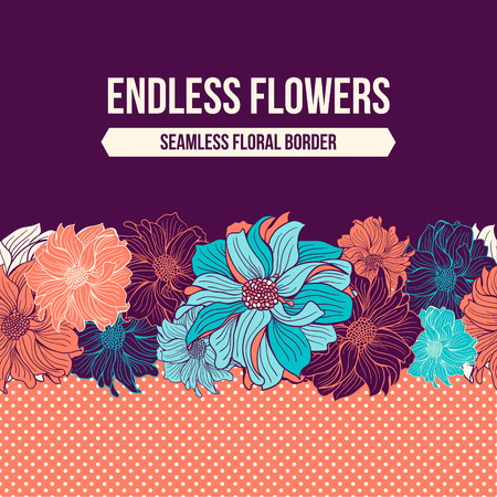 pink flower: Hand-drawn flowers of dahlia. Seamless vector border.  Mint, turquoise, aqua and coral colors. Polka dot background. Blank space for your text. Vector illustration. Illustration