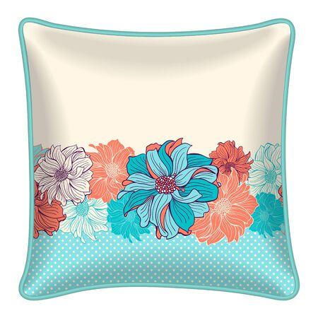 throw: Interior design element  Decorative throw pillow with patterned pillowcase  floral border hand drawn dahlias in turquoise polka dot background. Isolated on white. Vector illustration. Illustration