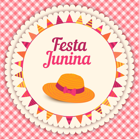Festa Junina illustration  traditional Brazil june festival party  Midsummer holiday. Vector illustration.