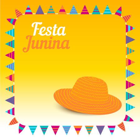 midsummer: Festa Junina illustration  traditional Brazil june festival party  Midsummer holiday. Vector illustration.
