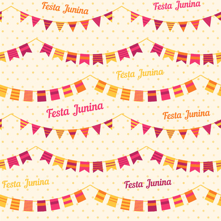 june: Festa Junina illustration  traditional Brazil june festival party  Midsummer holiday. Vector illustration. Seamless pattern Illustration