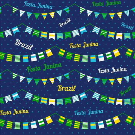 midsummer: Festa Junina illustration  traditional Brazil june festival party  Midsummer holiday. Vector illustration. Seamless pattern Illustration
