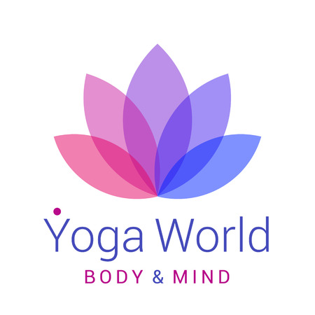 Colorful five-petals Lotus flower as symbol of yoga. Sample text - Yoga world, body and mind. Vector illustration for yoga event, school, club, web.