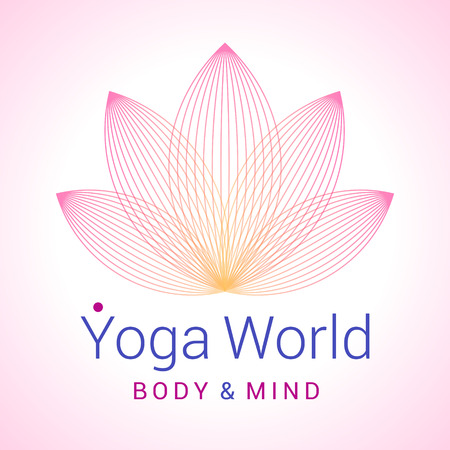 Colorful five-petals Lotus flower as symbol of yoga. Sample text - Yoga world, body and mind. Vector illustration for yoga event, school, club, web. Vector