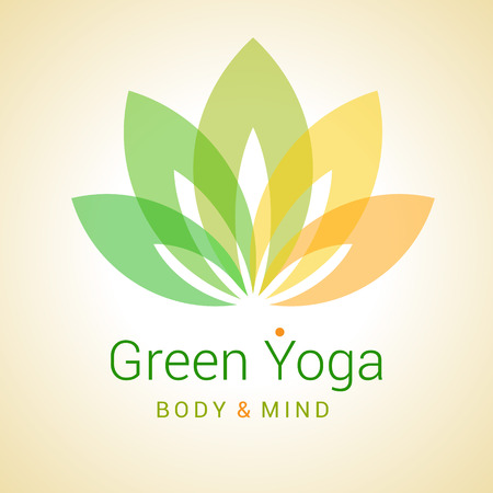 icon web: Colorful five-petals Lotus flower as symbol of yoga. Sample text - Green yoga, body and mind. Vector illustration for yoga event, school, club, web.