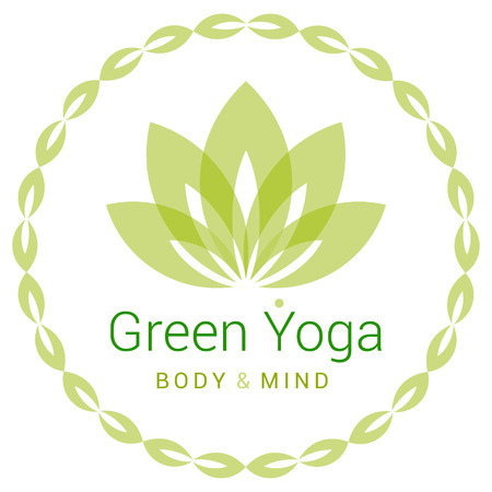 mind body: Colorful five-petals Lotus flower as symbol of yoga. Sample text - Green yoga, body and mind. Vector illustration for yoga event, school, club, web.