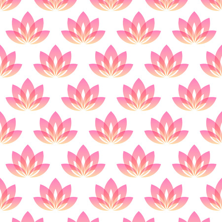 Seamless pattern with five-petals Lotus flower as symbol of yoga. Vector background for yoga event, school, club, web. Vector
