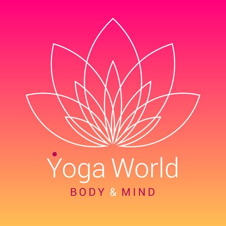 silhouette fleur: Décrivez cinq pétales Fleur de lotus comme symbole de yoga, sur fond coloré rose-orange. Exemple de texte - Yoga monde, le corps et l'esprit. Vector illustration pour l'événement de yoga, école, club, Web.
