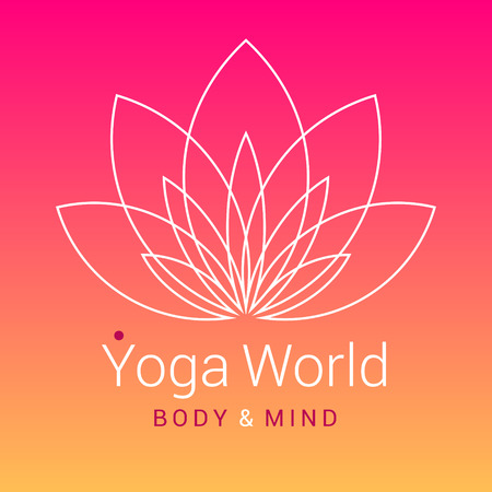 body line: Outline five-petals Lotus flower as symbol of yoga, on colorful pink-orange background. Sample text - Yoga world, body and mind. Vector illustration for yoga event, school, club, web.