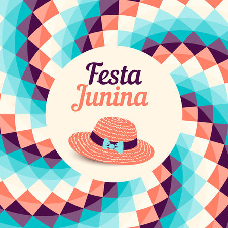 Festa Junina illustration - traditional Brazil june festival party - Midsummer holiday. Vector illustration - round frame with checkered background and thatched.  イラスト・ベクター素材