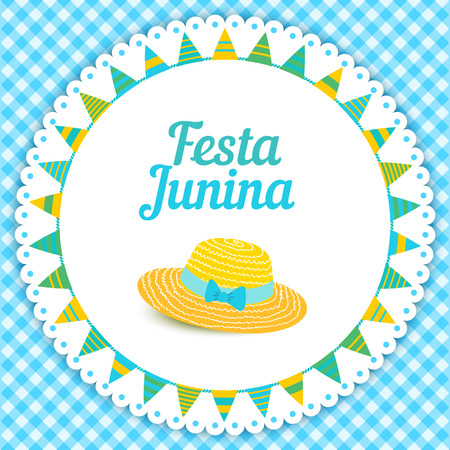 thatched: Festa Junina illustration - traditional Brazil june festival party - Midsummer holiday. Vector illustration - round frame with buntings and thatched hat on blue gingham cloth.