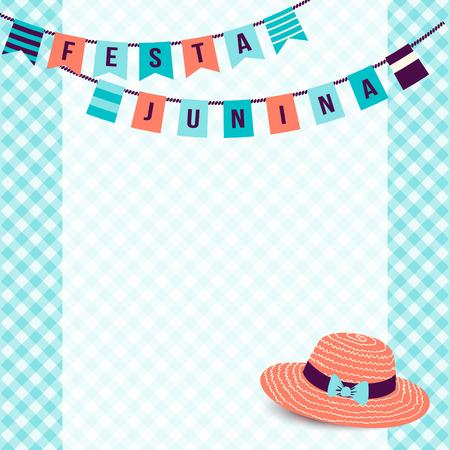 thatched: Festa Junina illustration - traditional Brazil june festival party - Midsummer holiday. Vector illustration - buntings and thatched hat on blue gingham cloth. Free space for your text. Illustration