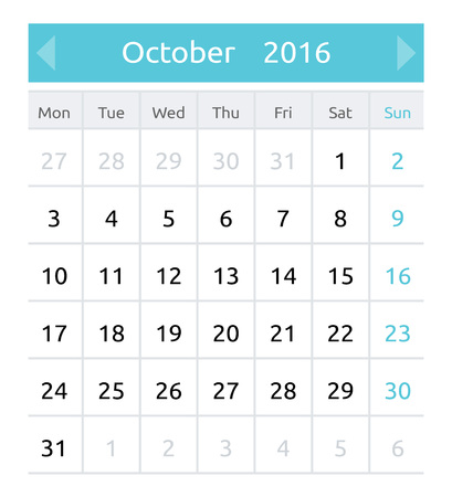neat: October 2016. Simple european calendar for 2016 year - one month grid. Clean and neat. Only plain colors - easy to recolor. Vector illustration.