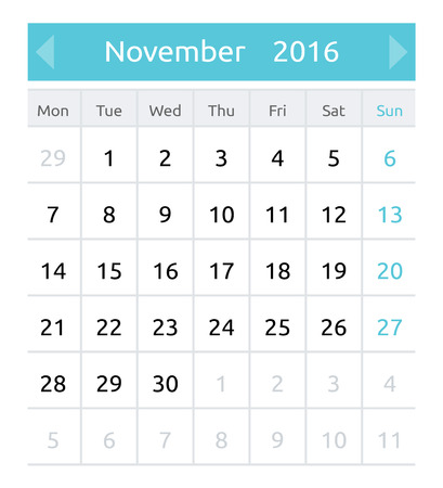 neat: November 2016. Simple european calendar for 2016 year - one month grid. Clean and neat. Only plain colors - easy to recolor. Vector illustration.