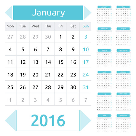 neat: Simple european calendar grid for 2016 year. Clean and neat. Only plain colors - easy to recolor. Vector illustration.
