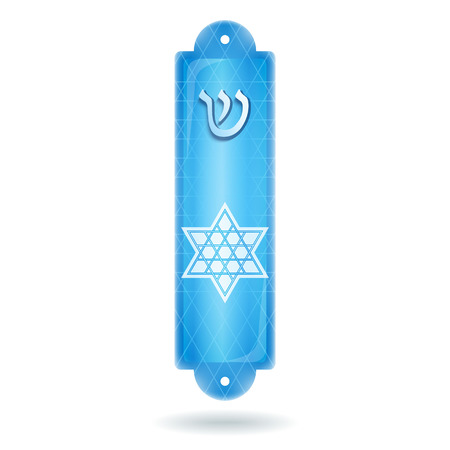 shin: Blue Mezuzah case with hebrew letter Shin and six-rays star of David, white background. Jewish traditional religion item. Vector illustration.