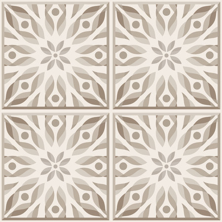 ceramic: Four ceramic tiles in brown colors, seamless pattern. Vector background.