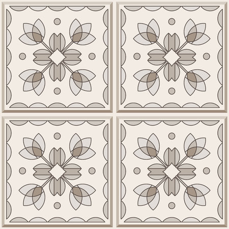 four pattern: Four ceramic tiles in brown colors, seamless pattern. Vector background.