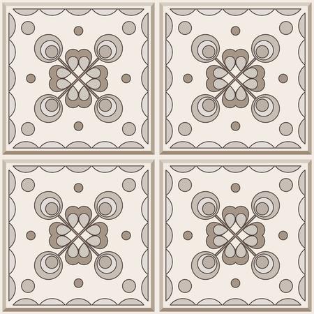 ceramic: Cuatro azulejos de cer�mica en colores marrones, sin fisuras patr�n. Vector de fondo.