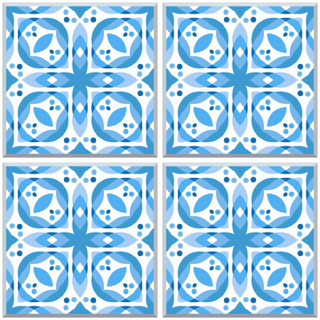 Four ceramic tiles in blue colors, like traditional azulejo. Seamless pattern. Vector background.