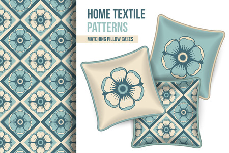 room accent: Pattern and Set of 3 matching decorative throw pillows with this pattern applied.  Vector illustration. Illustration