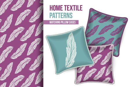 comfort room: Pattern and Set of 3 matching decorative throw pillows with this pattern applied.  Vector illustration. Illustration