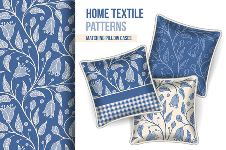 room accents: Pattern and Set of 3 matching decorative throw pillows with this pattern applied.  Vector illustration. Illustration