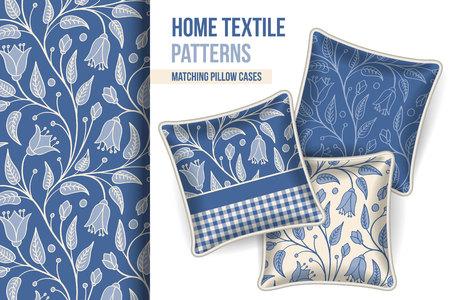 room accents: Pattern e Set di 3 corrispondenti decorativi cuscini con questo modello applicato. Illustrazione vettoriale.