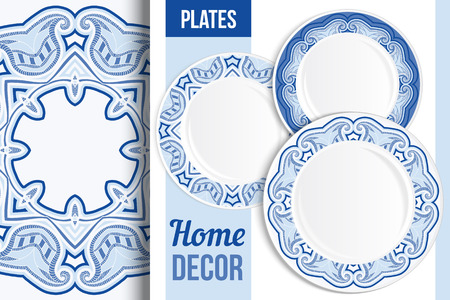 applied: Pattern and Set of 3 matching decorative plates with this pattern applied. Top view of three empty plates. Vector illustration.