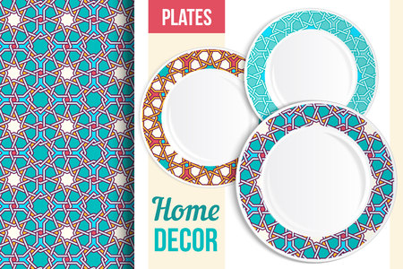 Pattern and Set of 3 matching decorative plates with this pattern applied. Top view of three empty plates. Pattern in background is seamless, not cropped. Vector illustration.