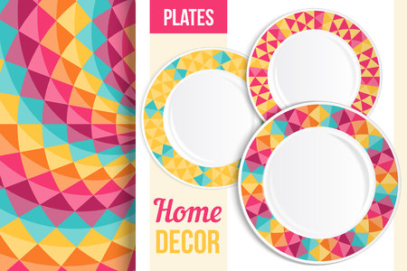 food plate: Pattern and Set of 3 matching decorative plates with this pattern applied. Top view of three empty plates. Vector illustration.