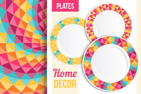 ceramiki: Wzór i Zestaw 3 pasujące dekoracyjnych płyt z tym wzorem zastosowana. Widok z góry trzech pustych płyt. ilustracji wektorowych. Ilustracja