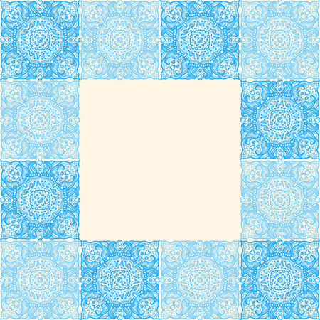 tile background: Tiles frame with tiles patterned in ethnic mandalas - abstract hand-drawn pattern. Vector illustration Illustration