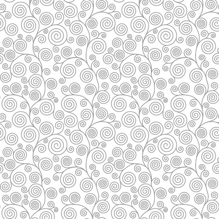 Seamless pattern with curvy spiral flourishes. Vector seamless background.