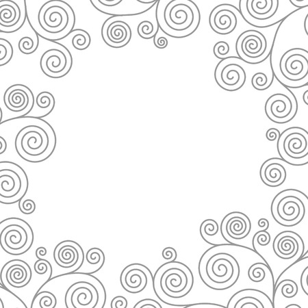 Frame with curvy spiral flourishes. Vector illustration.