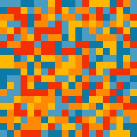 pixelated: Abstract pixelated pattern. Random colored swatches. Seamless vector background. Five colors only  - easy to recolor..