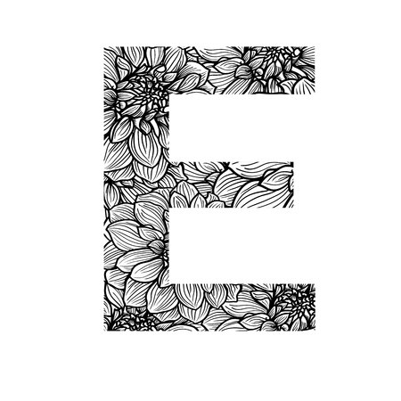 letter: One patterned letter E. Full patterned alphabet, ABC - see in my portfolio. Vector illustration.