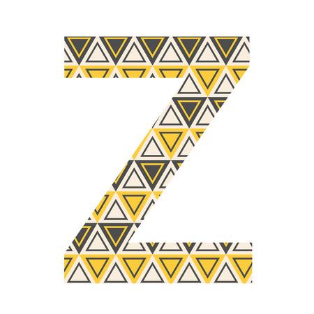 patterned: One patterned letter Z. Full patterned alphabet, ABC - see in my portfolio. Vector illustration. Illustration