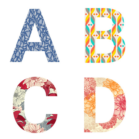 Set of colorful patterned leters - A, B, C, D. Full patterned alphabet, ABC - see in my portfolio. Vector illustration.